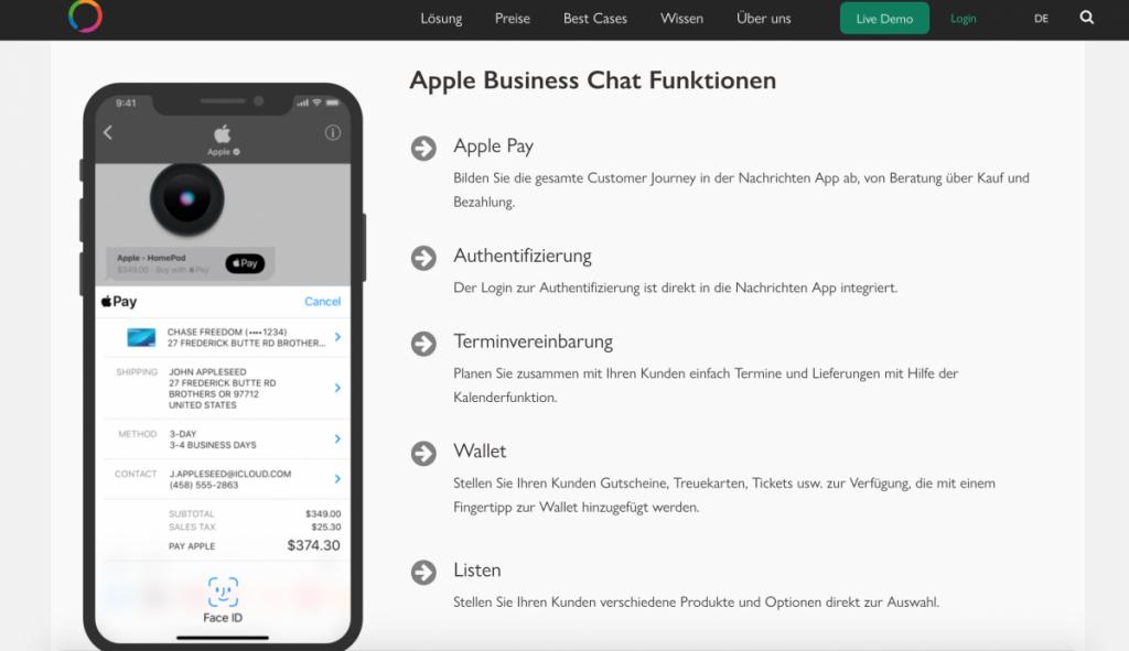 Apple Business Chat: Quelle. MessengerPeople